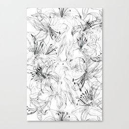 lily sketch black and white pattern Canvas Print