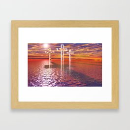 Christian crosses on red sea Framed Art Print