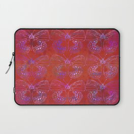 Butterfly Stacks on Red Watercolor Pattern Laptop Sleeve