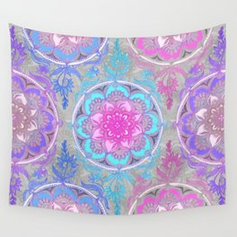 Pink, Purple and Turquoise Super Boho Doodle Medallions Wall Tapestry
