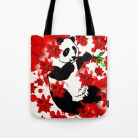 red panda Tote Bags featuring Panda by Saundra Myles