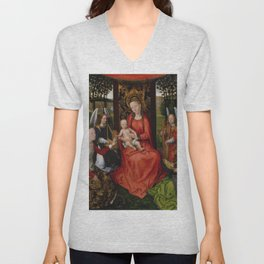 """Hans Memling """"Virgin and Child with Saints Catherine of Alexandria and Barbara"""" Unisex V-Neck"""