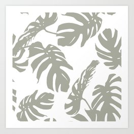 Simply Retro Gray Palm Leaves on White Art Print