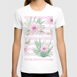 Rose Stripe Succulents - Pink and Mint Green Cactus Pattern T-shirt