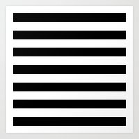 stripes Art Prints featuring Horizontal Stripes (Black/White) by 10813 Apparel