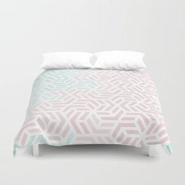 Pastel Deco Hexagon Pattern - Aqua and Pink #pastelvibes #pattern #deco Duvet Cover