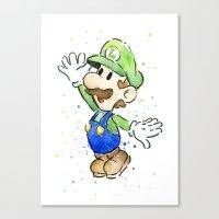 luigi Canvas Prints featuring Luigi Watercolor Art by Olechka