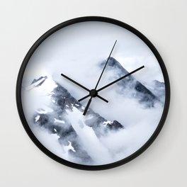 Minimalist MIsty Foggy Mountain Twin Peak Snow Capped Cold Winter Landscape Wall Clock