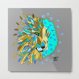 Wolf with Feathers Spirit Animal Pop Art Print Natural Metal Print