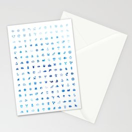 Sea Life Textile - Ocean Blue Stationery Cards