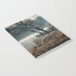 Morning fog, river and sunrise Notebook