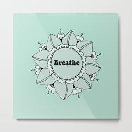 Breathe Yoga Boho Mandala Light Blue Green Metal Print