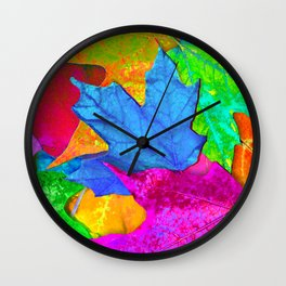 Vivid Leaves #2 Wall Clock