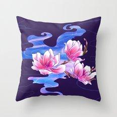 Magnolia night Throw Pillow