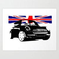 mini cooper Art Prints featuring MINI COOPER  by karmadesigner