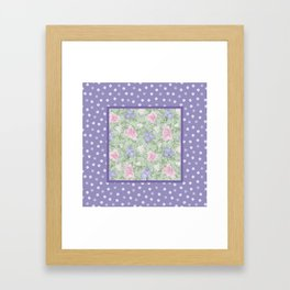 Flower Play Antique over Purple Tiny Flowers Framed Art Print