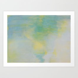 """sunny slope"" abstract painting in mint, white, and yellow Art Print"