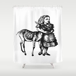 Alice and the Fawn in Black Shower Curtain