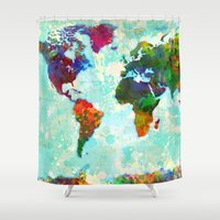 map Shower Curtains featuring Abstract Watercolor World Map by Gary Grayson
