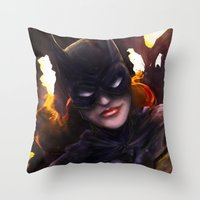 batgirl Throw Pillows featuring Batgirl by Nicole M Ales