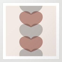 Hearts - Cocoa & Gray Art Print