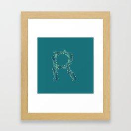 Turquoise flowers alphabet R Framed Art Print