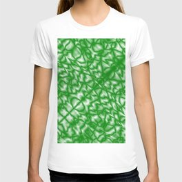 Delicate symmetry of a diagonal pattern of emerald drops and splashes of glass effect T-shirt