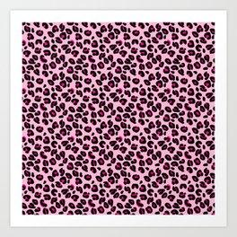 Cotton Candy Pink and Black Leopard Spots Animal Print Pattern Art Print