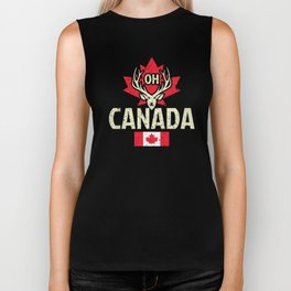 Oh Canada Funny Maple Leaf Flag Gift for Canadians Biker Tank