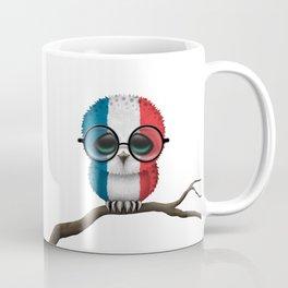 Baby Owl with Glasses and French Flag Coffee Mug