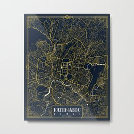 Kathmandu City Map of Nepal - Gold Art Deco Metal Print