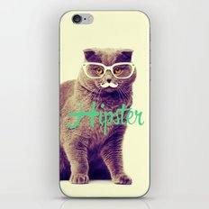 Turquoise Funny Cat Cute Hipster Glasses Mustache iPhone & iPod Skin