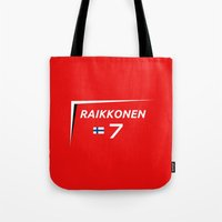 f1 Tote Bags featuring F1 2015 - #7 Raikkonen [v2] by MS80 Design