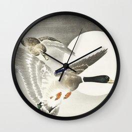 Two ducks at full moon (1900 - 1930) by Ohara Koson (1877-1945) Wall Clock