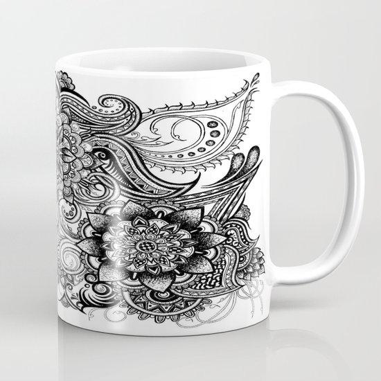 Freeform Black and White Ink Drawing Coffee Mug