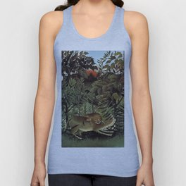 THE HUNGRY LION ATTACKING AN ANTELOPE - ROUSSEAU Unisex Tank Top