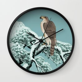 Hawk on Snowy Pine Wall Clock