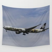 the hobbit Wall Tapestries featuring Air New Zealand Hobbit Boeing 777 by David Pyatt