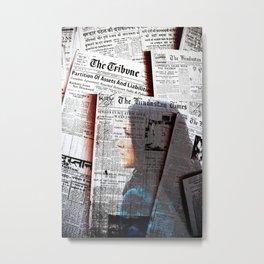 Girl Newspaper Metal Print
