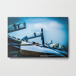 Raised Canopies Of Modern Fighter Aircrafts Metal Print