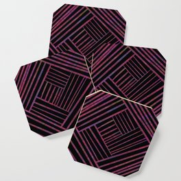 SAVANT black with bright pink and purple lines pattern Coaster