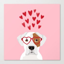 Boxer heart glasses hearts valentines day cute dog gifts rescue dog pure breed boxers Canvas Print