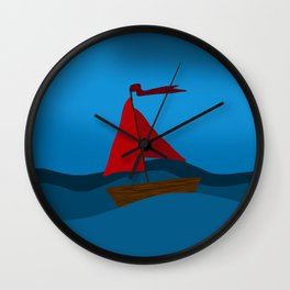 A red boats journey Wall Clock