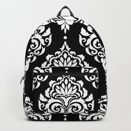 Black Monochrome Damask Pattern Backpack