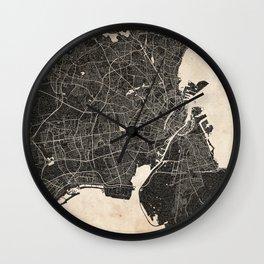 copenhagen map ink lines 2 Wall Clock