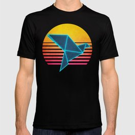 Neon Retro Synthwave Origami T-shirt
