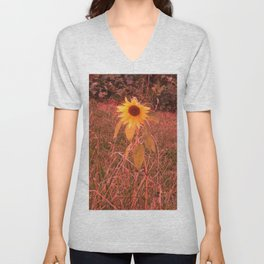Red Tinted Sunflower Unisex V-Neck