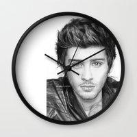 zayn malik Wall Clocks featuring Zayn Malik Drawing by Emilia Apreda