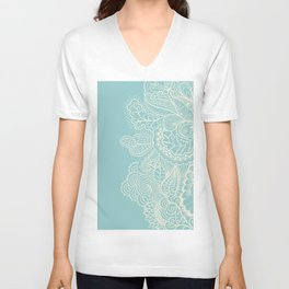Abstract Nature In Aqua Unisex V-Neck