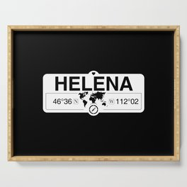 Helena Montana Map GPS Coordinates Artwork with Compass Serving Tray